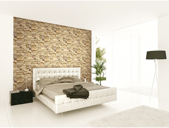 Limestone Wall Wallpaper Room Setting