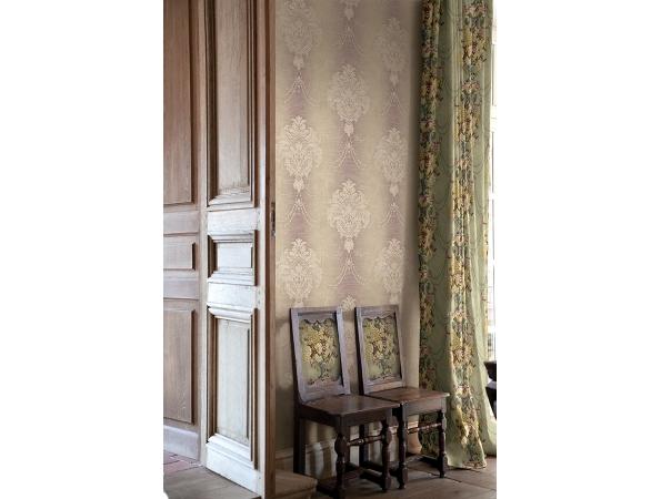 Damasse Wallpaper & Millesime Urn & Flowers Fabric Room Setting