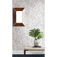 Tropical Leaves Grasseffects Wallpaper Room Setting