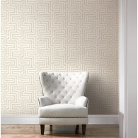 Grasscloth Greek Key Wallpaper Room Setting