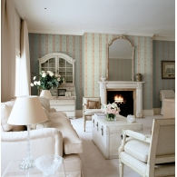 Stripe Damask Wallpaper Room Setting