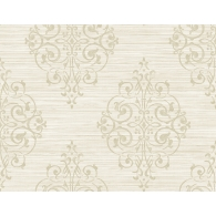Medallion on Grass Weave Textured Wallpaper