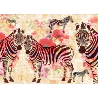 Zebra& Flowers Drawing Giant Mural