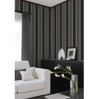 Black Smart Stripes 2 Wallpaper Room Setting