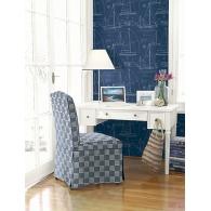 Yacht Blueprint Wallpaper  & Yacht Club Fabric Room Setting