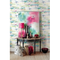 Spatula Stripes L'Atelier de Paris Wallpaper & Abstract Floral Canvas with Frame Room Setting