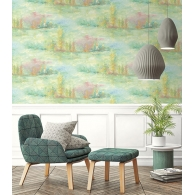 Rolling Hills French Impressionist Wallpaper Room Setting