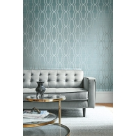 Geometric On Grasscloth on Embosed Foil  Fusion Wallpaper Room Setting