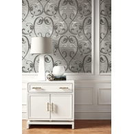 Damask On Grasscloth Embossed Foil Fusion Wallpaper Room Setting