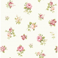 Floral Toss on Tiny Dots Wallpaper
