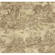 Toile Brownstone Wallpaper