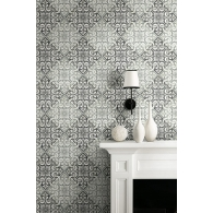 Tile Brownstone Wallpaper Room Setting