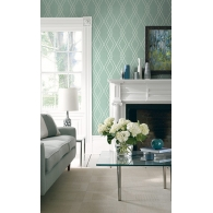 Geometric Brownstone Wallpaper Room Setting