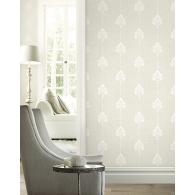 Damask Stripe Brownstone Wallpaper Room Setting