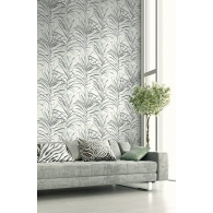 Tropical Leaves Textile Effects Wallpaper Room Setting