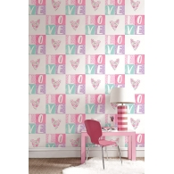 With Love Hearts Playdate Adventure Mural Room Setting