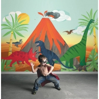 Blast from the Past Dinosaur Playdate Adventure Mural Room Setting