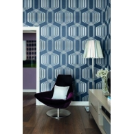 Hexagon Stripe Mod Geo Wallpaper Room Setting