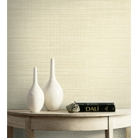 Subtle Grasscloth Textile Effects Wallpaper Room Setting