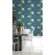 Flower Stripe Maui Maui Wallpaper Room Setting