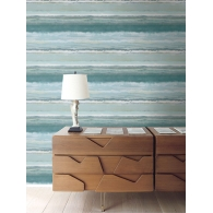 Watercolor Stripe Sumi Wallpaper Room Setting
