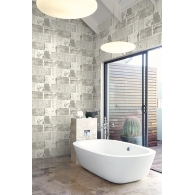 Distressed Tile Modern Foundation Wallpaper Room Setting