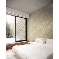 Stacked Chevron Wood Modern Foundation Wallpaper Room Setting