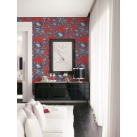 Crane Toile Sumi Wallpaper Room Setting