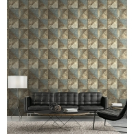 Metallic Diamonds Modern Foundation Wallpaper  Room Setting