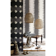 Mudcloth Global Style Wallpaper Room Setting