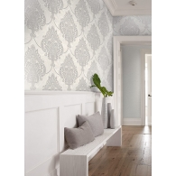 Puffed Damask Casa Blanca 2 Wallpaper Room Setting