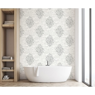 Damask on Monotone Novelty Sumi Wallpaper Room Settings