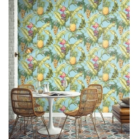 Pineapple Floral Maui Maui Wallpaper Room Setting