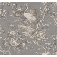 Crane Toile Sumi Wallpaper