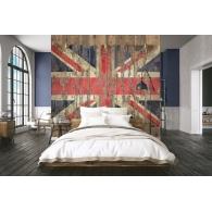 Distressed Flag on Wood Grunge Mural Room Setting