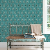 Peacock Organic Textures Wallpaper Room Setting