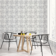 Inlay Wood Organic Textures Wallpaper Room Setting