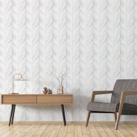 Chevron Wood Organic Textures Wallpaper Room Setting