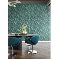 Tropical Dots Geometric Maya Wallpaper Room Setting