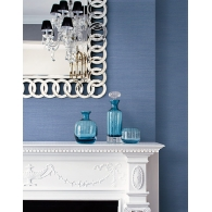 Carolina Blue Faux Coastal Hemp Texture Gallery Wallpaper Room Setting