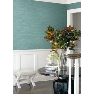 Aqua Faux Grasslands Texture Gallery Wallpaper Room Setting