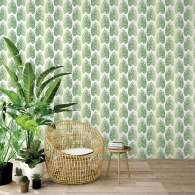 Leaf Stripe Evergreen Wallpaper Room Setting