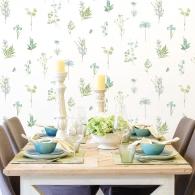 Botanical Evergreen Wallpaper Room Setting