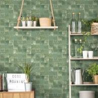 Aqua Tile Evergreen Wallpaper Room Setting