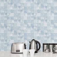 Blue Tile Evergreen Wallpaper Room Setting