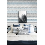 Ethnic Weave Stripe Maya Wallpaper Room Setting