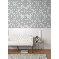 Lattice Geometric Paper & Ink Wallpaper Room Setting