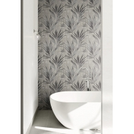 Palm Leaf Stripe Maya Wallpaper Room Setting