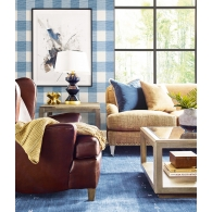 Rugby Gingham Lillian August Luxe Retreat Wallpaper Room Setting