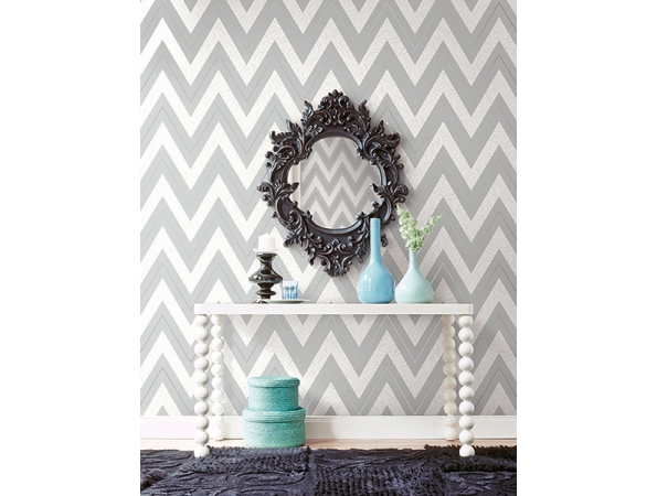 Chevron with Skin Texture Wallpaper Room Setting